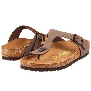 Tan Gizeh Birkenstock flip flop sandal
